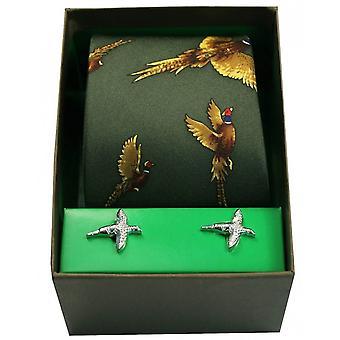 David Van Hagen Flying Pheasants Tie and Cufflink Set - Green