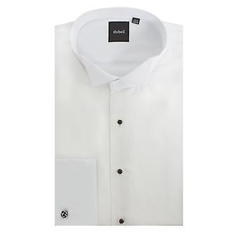 Dobell Mens White Marcella Evening Dress Shirt Regular Fit Wing Collar Stud Button Front