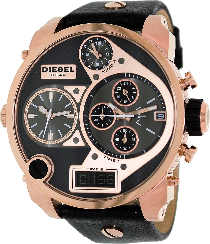 Diesel Men's Dz7261 Black Leather Analog Quartz Watch