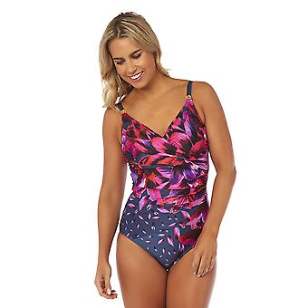 Seaspray SY007780 Women's Aiyana Purple Multicolour Floral Costume One Piece Crossover Swimsuit