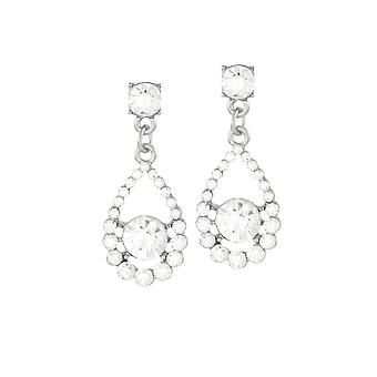 Eternal Collection Romance Clear Crystal Silver Tone Drop Clip On Earrings