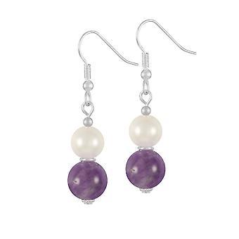 Eternal Collection Duet Amethyst & Shell Pearl Silver Tone Drop Pierced Earrings