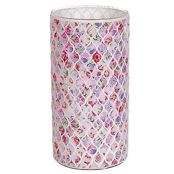 Straits blommig 25cm vas, rosa
