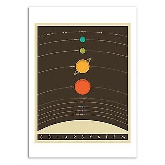 Art-Poster-zonnestelsel-Jazzberry blauw 50 x 70 cm