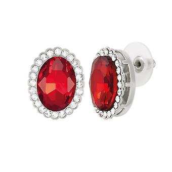 Eternal Collection Countess Oval Light Siam Red Crystal Silver Tone Stud Pierced Earrings