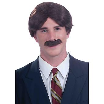 Mr 70s Ron Burgundy Anchorman News Reader Brown Men Wig & Moustache