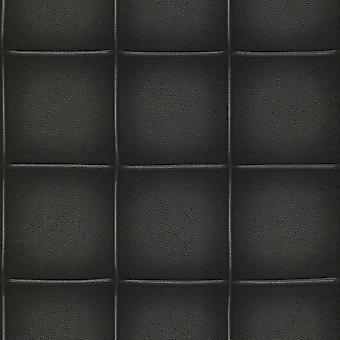 Rasch zwart faux leder vierkant panel niet geweven behang 576672