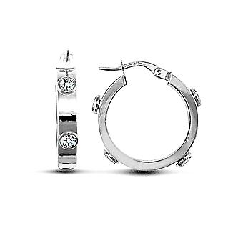 Jewelco London Ladies 9ct White Gold White Round Brilliant Cubic Zirconia Square Tube 4mm Hoop Earrings 20mm