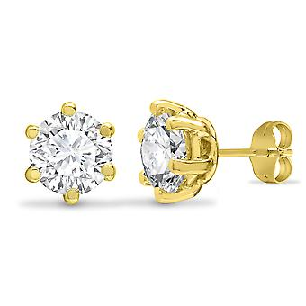 Jewelco London Solid 9ct Yellow Gold White Round Brilliant Cubic Zirconia 6 Griffe Solitaire Heavy Weight Stud Boucles d'oreilles, 6mm