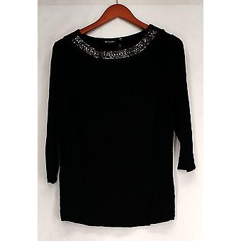 Effortless Style by Citiknits Top Sequined Jersey Knit Black Womens