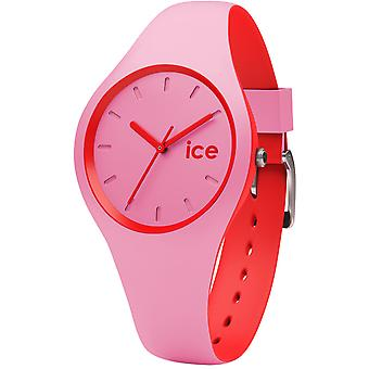 Ice duo pink network watch for Japanese Quartz Analog Woman with Silicone DUO bracelet. Prd. S.S.16