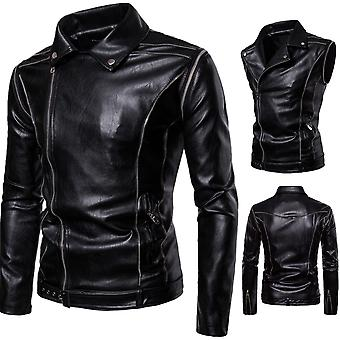 Allthemen Men's Detachable Sleeves Two Ways Of Wearing Leather Jacket
