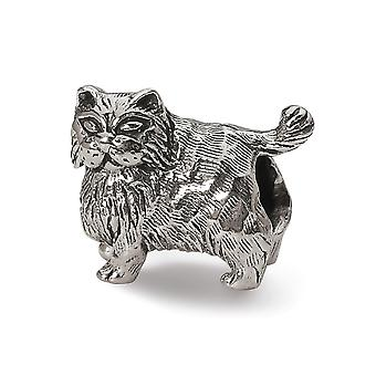 925 Sterling Silver Polished Reflections Persian Cat Bead Charm Pendant Necklace Jewelry Gifts for Women