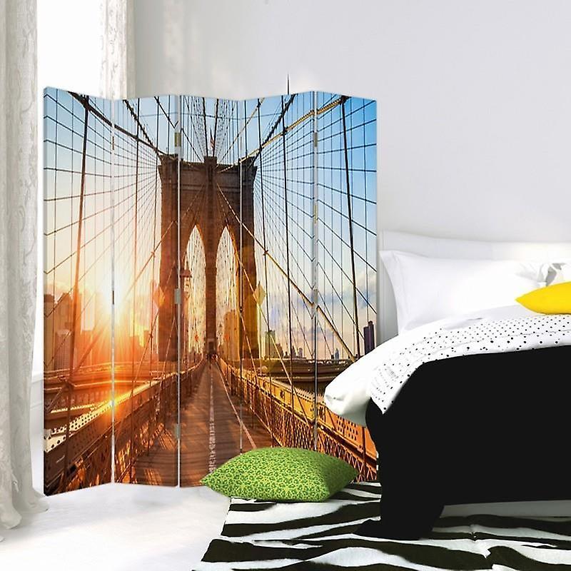 Diviseur de chambre, 5 panneaux, double-sided, 360 rotatable, toile, lever de soleil sur le pont