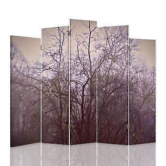 Dekorativa rumsavdelare, 5 paneler, dubbelsidig, canvas, november träd i dimman