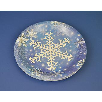 8 Christmas Snowflake Small Paper Party Plates