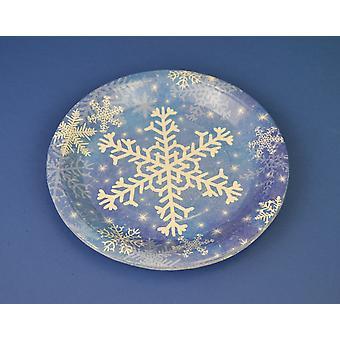 8 Boże Narodzenie Płatek śniegu Małe talerze paper party