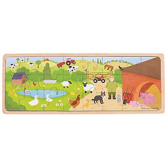 Bigjigs Toys Wooden On The Farm Animals Tray Puzzle Jigsaw