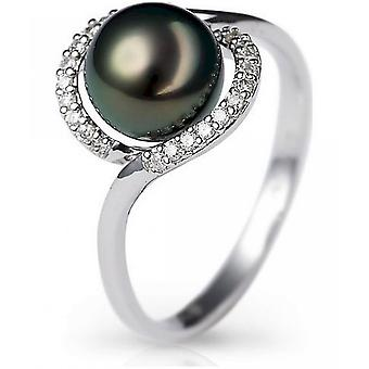 Luna-Pearls Diamond Ring with TahitiPerle R63