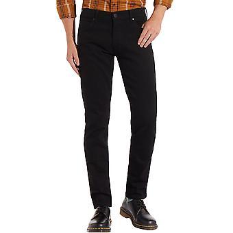 Wrangler Mens Larson Slim Tapered Fit Jeans Trousers - Black