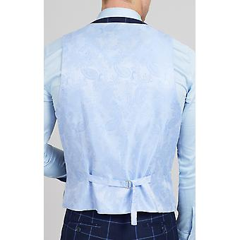 Dobell Marina para hombre chaleco Regular Fit control Blue Windowpane