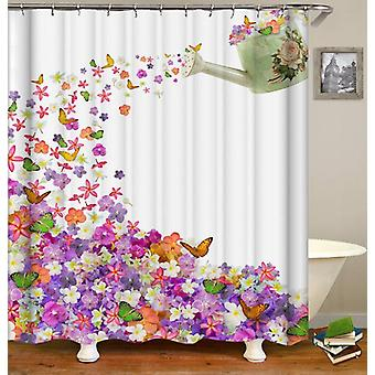 Watering Flowers And Butterflies Can Shower Curtain