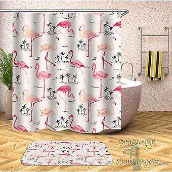 Flamingos And Palms Pattern Shower Curtain