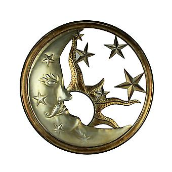 Bronze and Antique Silver Metal Art Sun Moon and Stars Indoor Outdoor Wall Decor