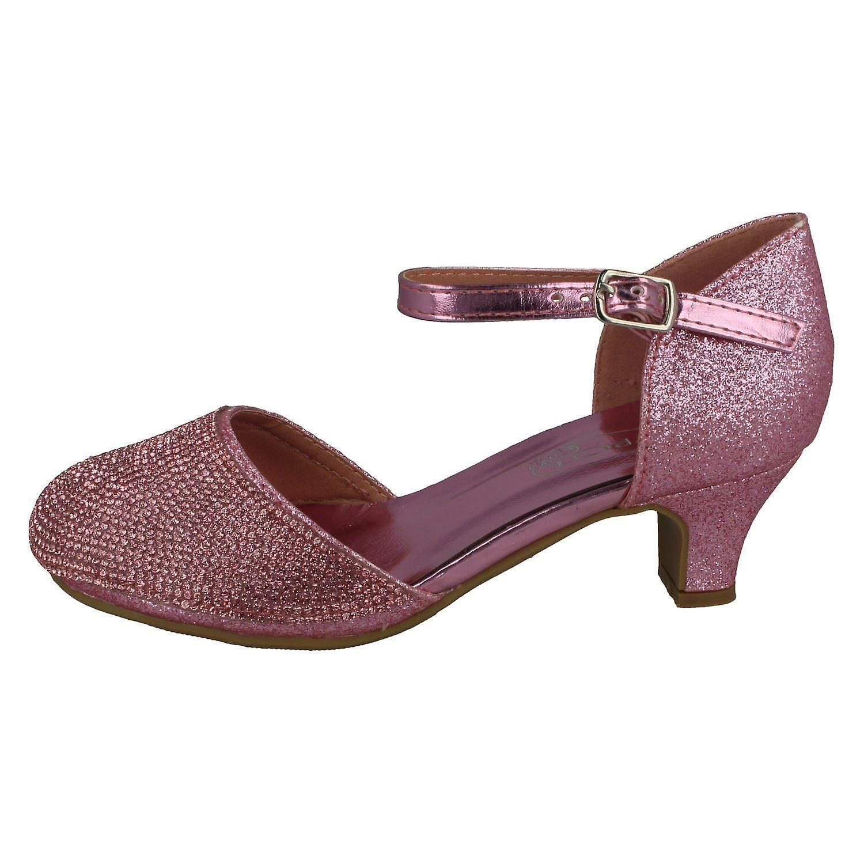 Girls Spot On Mid Heel Glittery Shoes H3082 O9NFde
