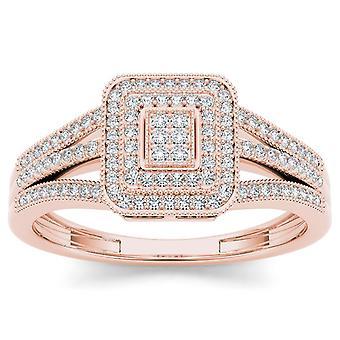 Igi certified 10k rose gold 0.15 ct diamond square double halo engagement ring
