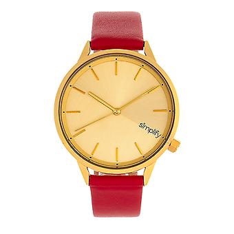 Simplify The 6700 Series Strap Watch - Red/Gold