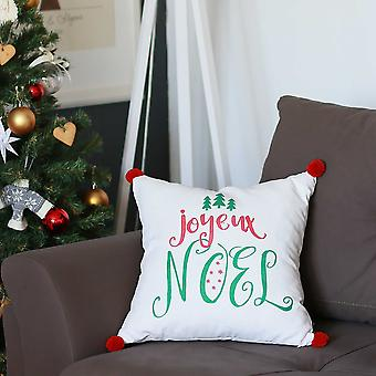 Joyeux Noel Square Printed Decorative Throw Pillow Cover