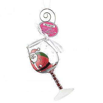 Lolita Stuck Santa Glass Hanging Ornament