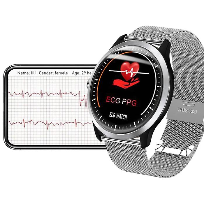 Lemfo Sports Smartwatch ECG + PPG Fitness Sport Activity Tracker Smartphone Watch iOS Android iPhone Samsung Huawei Black Metal