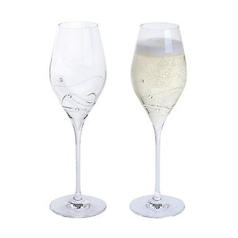 Dartington Crystal Glitz Prosecco Flute Pair Wine Glasses