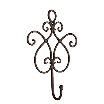 Clayre & EEF of filigree wall hooks vintage shabby cottage iron Brown 15/22/5 cm