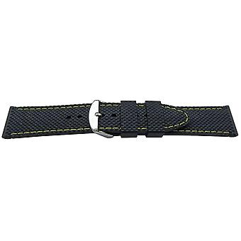 Black rubber watch strap diamond texture yellow stitch stainless buckle 16-22mm