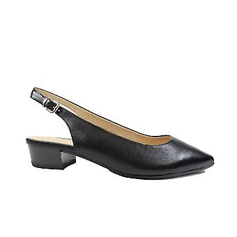 Caprice 29403 Black Leather Womens Slingback Shoes