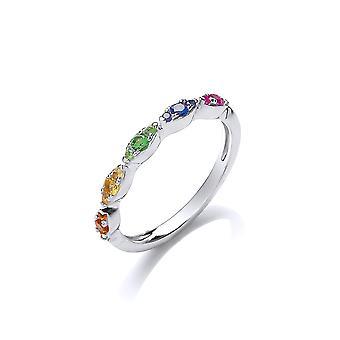 David Deyong Sterling Silver Rainbow Fine Half Eternity Ring