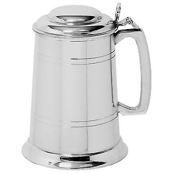 Straight Pewter Tankard fedéllel-1 pint