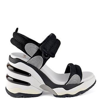 Ash COSMOS Wedge Trainer Sandals Black Mesh