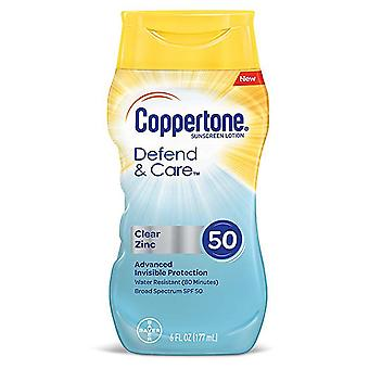 Coppertone defend & care clear zinc sunscreen lotion, spf 50, 6 oz