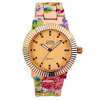 Eton Womens Fashion Watch, Pink Floral Pattern, Rose Gold Bezel 3179J-RG