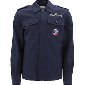 Alexander Mcqueen 599327qos294100 Hombres's Camisa de Algodón Azul