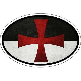 Naklejka owalny owalny flaga kod kraju rycerz templariusz