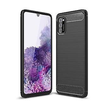 Samsung Galaxy A41 TPU tapauksessa hiilikuituoptinen harjattu suojakotelo musta