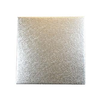 """Culpitt 8"""" (203mm) Double Thick Square Cut Edge Cake Cards Silver Fern (3mm Thick) Pack Of 25"""