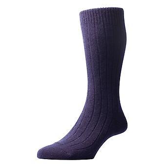 Pantherella Waddington Rib Luxury Cashmere Socks - Navy