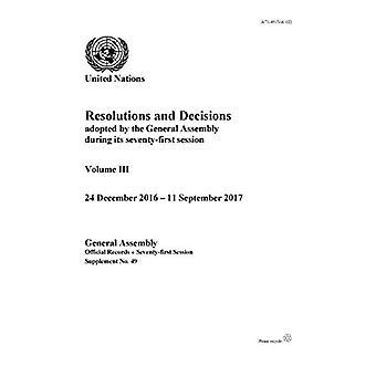 Risoluzioni e decisioni adottate dall'Assemblea generale durante la sua