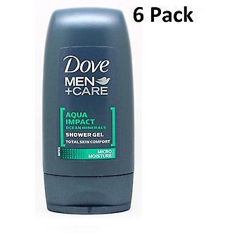 6 x Dove Men plus Care Aqua Impact Ocean Minerals Shower Gel 55ml